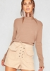 Dania Mocha Trimmed Hem Luxe Long Sleeved Top