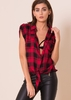 Erin Red Check Print Tie Front Shirt