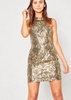 Esmae Gold Sequin Halterneck Mini Dress