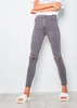 Women's Fran Washed Grey Ripped Knee High Waist Skinny Jeans