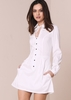 Gabriella White Long Sleeved Shirt Dress