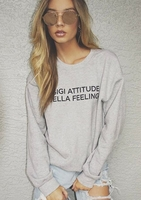 Homewear  - Hadid Grey Gigi Attitude Bella Feelings Slogan Jumper