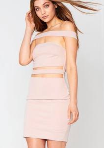 Harika Nude Cut-Out Bodycon Dress