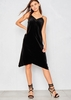 Jaida Black Velvet Midi Slip Dress