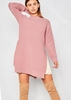 Kalli Pink Ribbed Knit Side Split Jumper