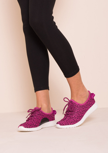 Shoes  - Lara Pink Fabric Ribbed Sole Trainers