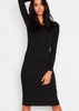 Laure Black Long Sleeve Bodycon Midi Dress