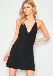 Leah Black Cowl Neck Side Split Mini Dress