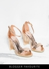 Lottie Rose Gold Cracked Foil Metallic Barely There Heels