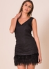 Mariah Black Feather Hem Mini Dress