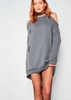 Marnie Charcoal Cold Shoulder Distressed Jumper Dress