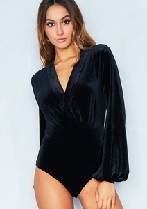 Mila Black Velvet Puff Sleeve Bodysuit