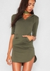 Nada Khaki Jersey Pocket Hoodie Curve Hem Dress