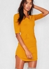Nada Mustard Jersey Pocket Hoodie Curve Hem Dress