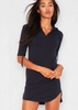 Nada Navy Jersey Pocket Hoodie Curve Hem Dress