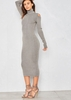 Women's Naomi Grey Glitter Cold Shoulder Turtle Neck Knitted Midi Dress