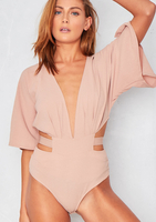 Oda Nude Extreme Plunge Cut Out Bodysuit