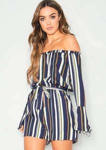 Olive Navy Striped Long Sleeve Bardot Playsuit