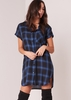 Sandie Navy Check Print Short Sleeved Shirt Dress