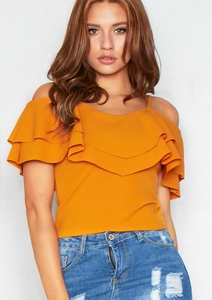 Shelby Mustard Frill Cold Shoulder Top