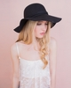 Tammy Black Ribbon Trim Floppy Hat