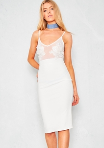 Yuridia Cream Floral Mesh Bodycon Dress