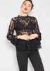 Zoie Black Floral Lace Long Sleeve Top
