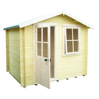 Garden Houses & Buildings  - 2.39m x 2.39m Log Cabin With Half Glazed Single Door - 19mm Wall Thickness