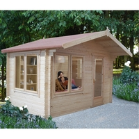 Garden Houses & Buildings  - 2.99m x 2.99m Log Cabin With Fully Glazed Single Door - 28mm Wall Thickness