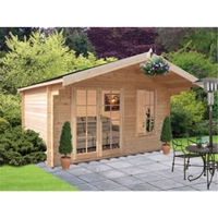 Garden Houses & Buildings  - 3.59m x 2.39m Log Cabin With Fully Glazed Double Doors - 28mm Wall Thickness