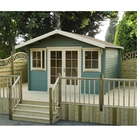 Garden Houses & Buildings  - 4.19m x 4.19m Log Cabin With Fully Glazed Double Doors - 28mm Wall Thickness
