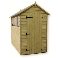 Sheds  - 7 x 4 Premier Pressure Treated Tongue and Groove Apex Shed with Higher Eaves And Ridge Height 3 Windows And Single Door