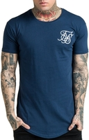 Short Sleeve  - Sik Silk Curved Hem Crew Neck Logo T-Shirt Navy - XS (40in)