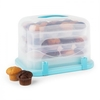 Blue Case XL Cake Box Cupcake Carrier 36 pcs 34.5 x 25 x 25.5cm Blue