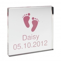 Gifts for Babies  - Personalised Pink Footprints Crystal Block