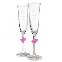 Occasional Gifts  - Personalised Pink Heart Stem Flutes