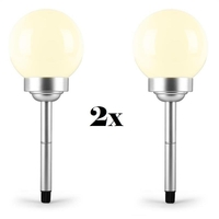 Outdoor Lighting  - 2 x OneConcept LED Flower Solar LED Garden Balcony Light Warm White