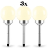 3 x OneConcept Solar Garden Balcony Lights 4 LEDs Warm White