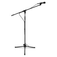 Microphones  - 3x auna KM 01 BK Four-Piece Microphone Sets incl. Microphone, Stand, Clip and 5 m Cable Black