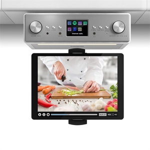 "auna Connect Soundchef Kitchen Radio with Tablet Holder DAB + FM 2x3"" Boxes White"