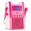 auna KA8P-V2 PK Karaoke Machine CD Player with Microphones Pink