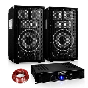 "Complete Systems  - Disco ""Warm Up Party"" PA Set 400W DJ Amplifier 8"" Speaker Pair"
