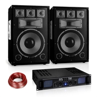 "Complete Systems  - Disco ""Warm Up Party"" PA Set 700W DJ Amplifier 12"" Speaker Pair"