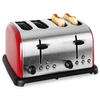 Klarstein 4-slice Stainless Steel Toaster 1650W - Red