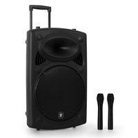 "Portable HiFi-Devices  - QTX QR15PA 15"" Active Portable PA Speaker System with Wireless Mics 250W"