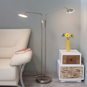 Wall lamps|Floor lamps  - 2-bulb Danny LED floor lamp, matt nickel