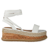 Abigail Strappy Espadrille Flatform In White Faux Leather