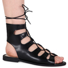 Adaline Lace Up Cut Out Sandals In Black Faux Leather