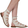 Adaline Lace Up Cut Out Sandals In Nude Faux Leather