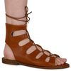 Adaline Lace Up Cut Out Sandals In Tan Faux Leather